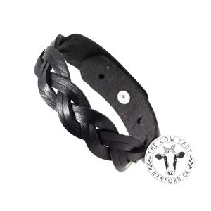 Black Leather Western Cowgirl Cuff Bracelet New
